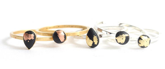 Bitsy Rings with Epoxy Clay and Gilding Flakes