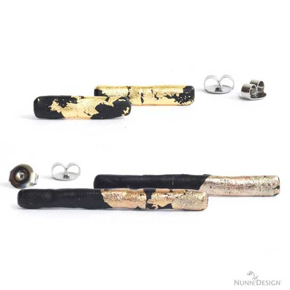 Bar Earrings with Epoxy Clay & Gilding Flakes
